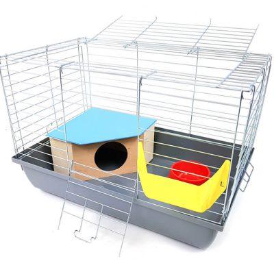 Klatka dla królika lub Świnki Morskiej 60 cm z domkiem i 4 gratisami, kuweta szara