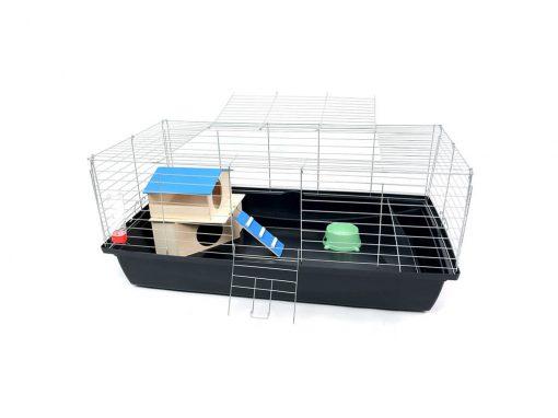 Klatka dla królika lub świnki morskiej 100cm z domkiem piętrowym
