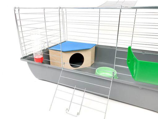 Klatka dla królika lub świnki morskiej 80cm z domkiem narożnym