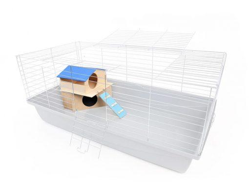 Domek dla gryzonia piętrowy wizualizacja ustawienia w klatce