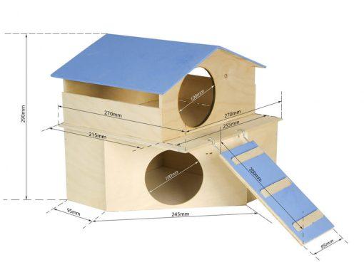 Domek dla gryzonia piętrowy z podanymi wymiarami