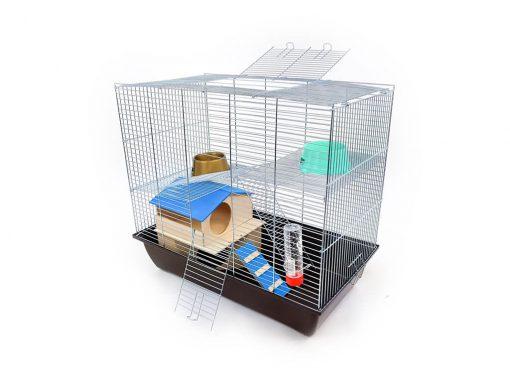 Klatka dla gryzonia Mega2 z domkiem piętrowym, metalowe wyposażenie, brązowa kuweta