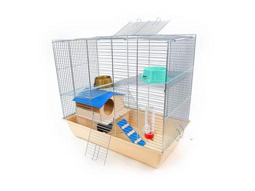 Klatka dla gryzonia Mega2 z domkiem piętrowym, metalowe wyposażenie, beżowa kuweta