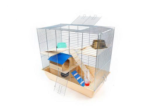 Klatka dla gryzonia Mega2 z domkiem piętrowym, drewniane wyposażenie, beżowa kuweta