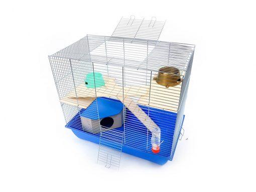Klatka dla gryzonia Mega2 z domkiem, drewniane wyposażenie, niebieska kuweta