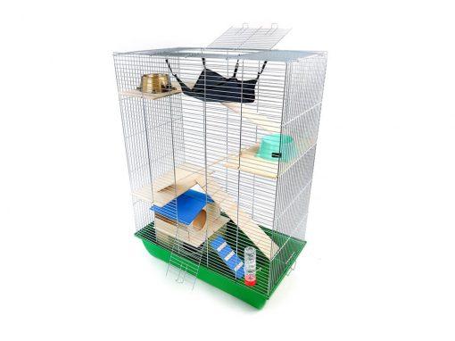 Klatka dla gryzonia Mega4 z domkiem piętrowym, drewniane wyposażenie, zielona kuweta
