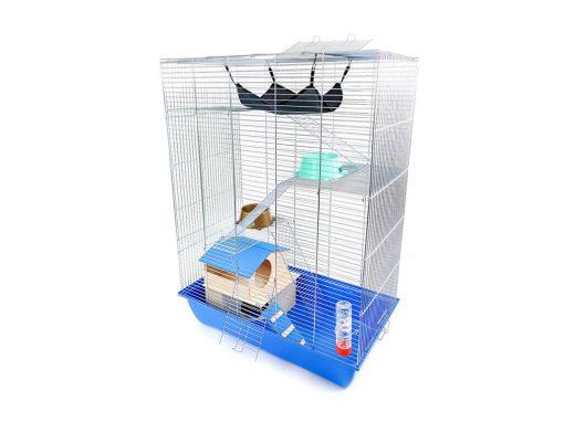 Klatka dla gryzonia Mega4 z domkiem piętrowym, metalowe wyposażenie, niebieska kuweta
