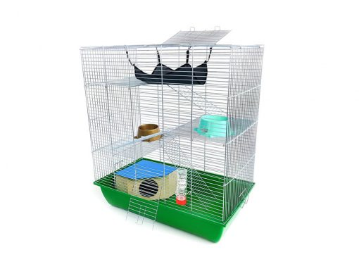 Klatka dla gryzonia Mega3 z domkiem, metalowe wyposażenie, zielona kuweta