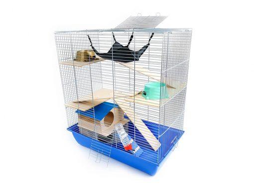 Klatka dla gryzonia Mega3 z domkiem piętrowym, drewniane wyposażenie, niebieska kuweta